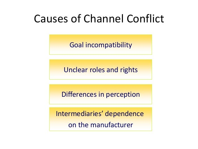 Causes of Channel Conflict Goal incompatibility Unclear roles and rights Differences in perception Intermediaries' depende...
