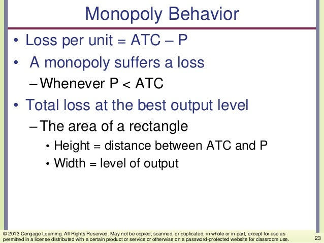Monopoly Behavior • Loss per unit = ATC – P • A monopoly suffers a loss –Whenever P < ATC • Total loss at the best output ...