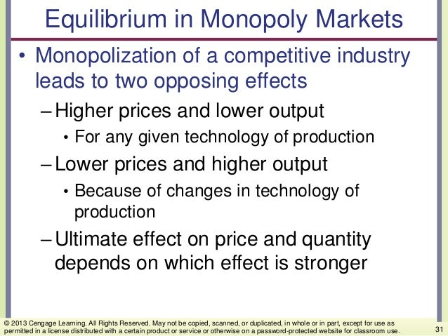 Equilibrium in Monopoly Markets • Monopolization of a competitive industry leads to two opposing effects –Higher prices an...