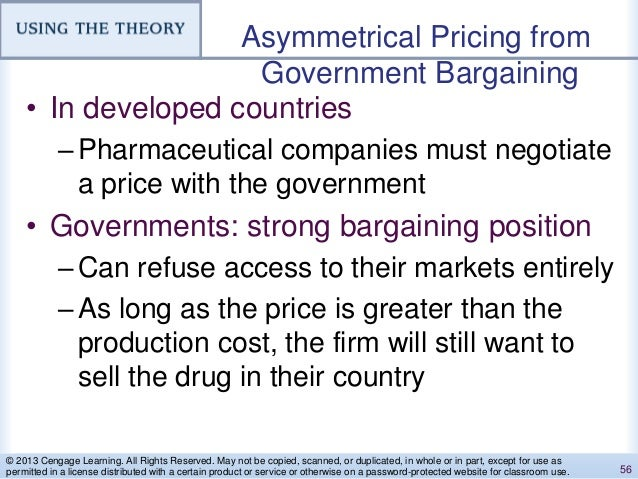Asymmetrical Pricing from Government Bargaining • In developed countries –Pharmaceutical companies must negotiate a price ...