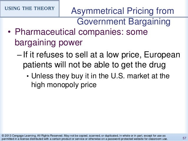 Asymmetrical Pricing from Government Bargaining • Pharmaceutical companies: some bargaining power –If it refuses to sell a...