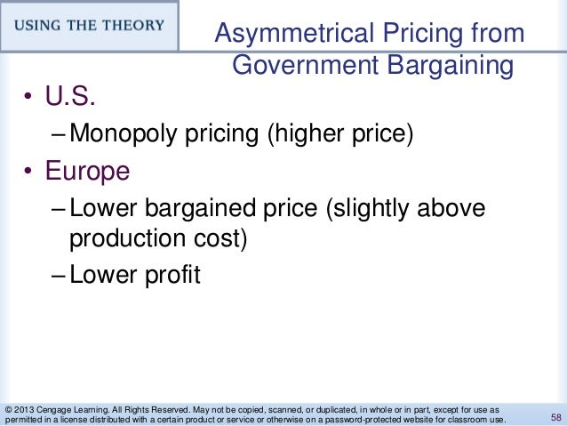 Asymmetrical Pricing from Government Bargaining • U.S. –Monopoly pricing (higher price) • Europe –Lower bargained price (s...