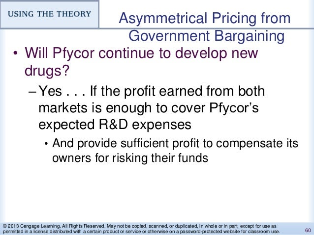 Asymmetrical Pricing from Government Bargaining • Will Pfycor continue to develop new drugs? –Yes . . . If the profit earn...