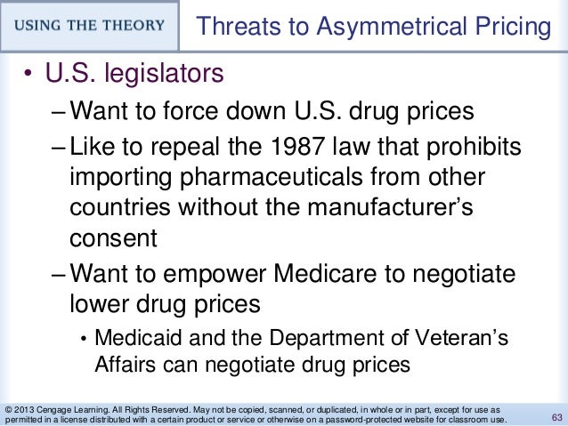Threats to Asymmetrical Pricing • U.S. legislators –Want to force down U.S. drug prices –Like to repeal the 1987 law that ...