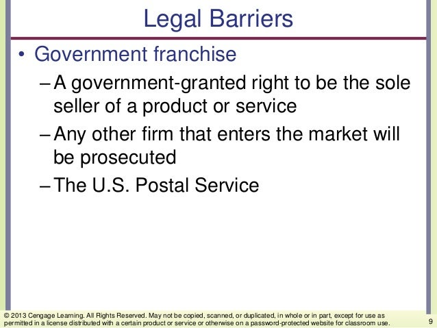 Legal Barriers • Government franchise –A government-granted right to be the sole seller of a product or service –Any other...