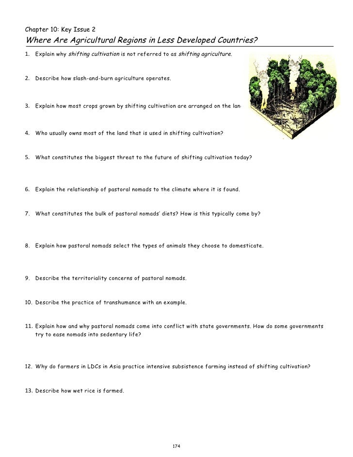 Chapter 10: Key Issue 2Where Are Agricultural Regions in Less Developed Countries?1. Explain why shifting cultivation is n...