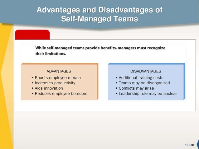 the advantages and disadvantages of self managed teams in a company Talk of a dynasty swept the baseball world recently when the san francisco giants won their second world series in three years but hold on — only one of this year's starting players, catcher buster posey, was a starter on the team that won two years ago how can any team be a dynasty when it isn't even.