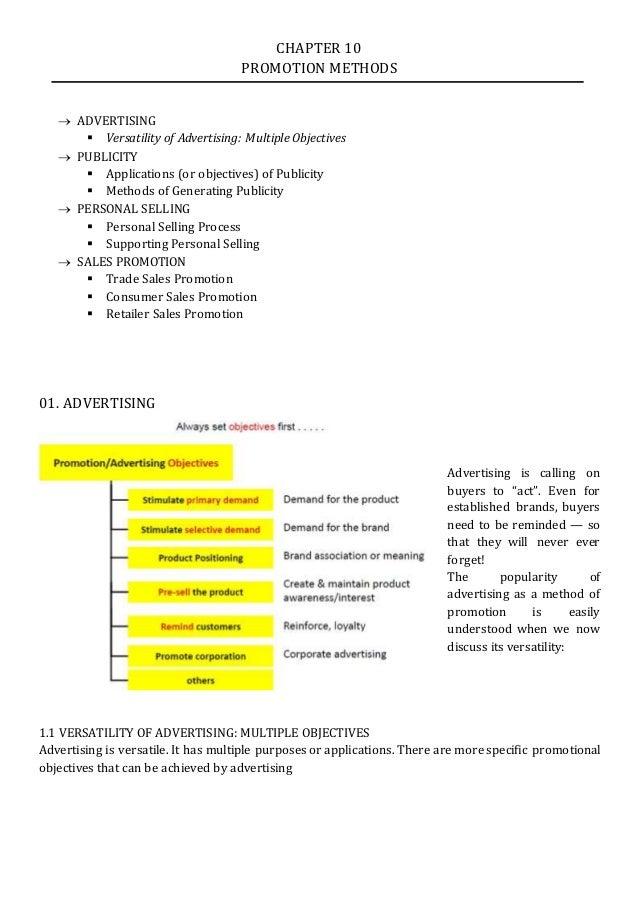 explain in detail the method of promotion