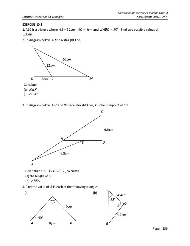 Chapter 10 solution of triangles