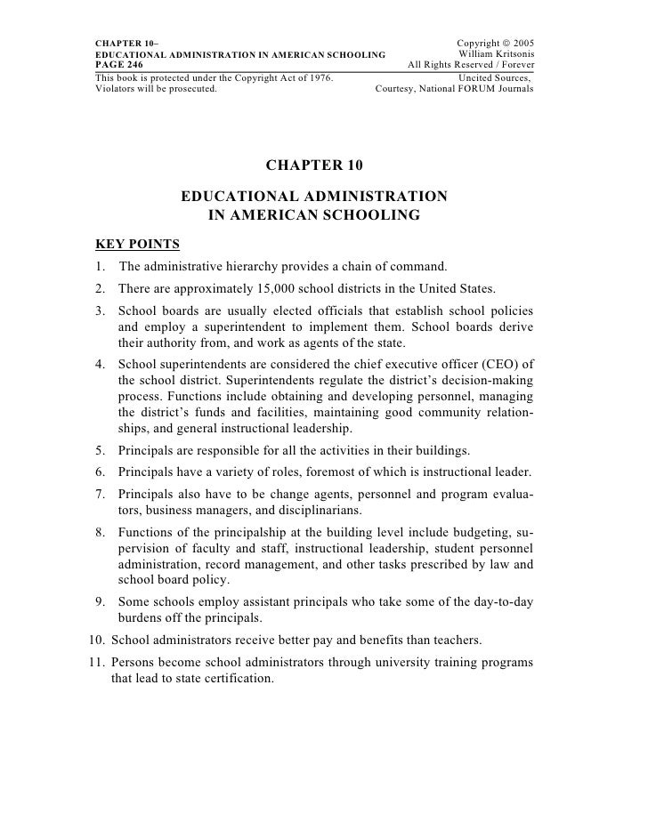 CHAPTER 10–                                                                  Copyright © 2005 EDUCATIONAL ADMINISTRATION I...