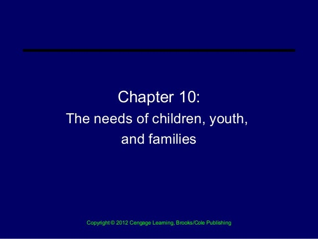 Chapter 10:The needs of children, youth,       and families   Copyright © 2012 Cengage Learning, Brooks/Cole Publishing