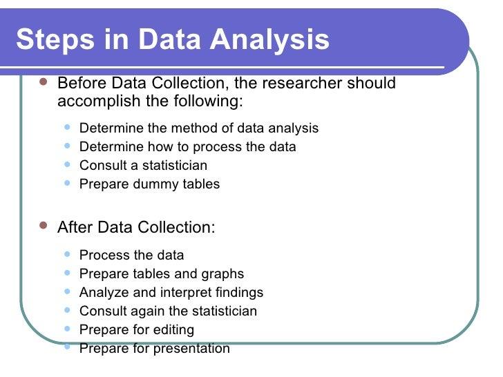 Methods of data analysis and presentation