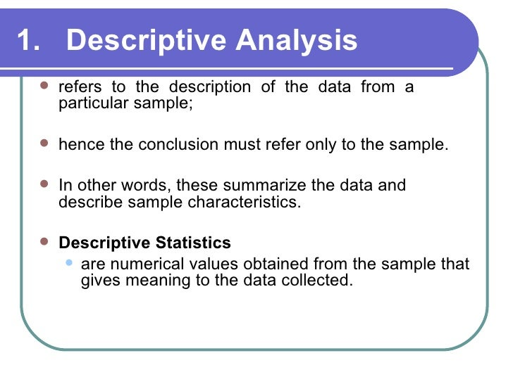 Presentation and analysis of data meaning