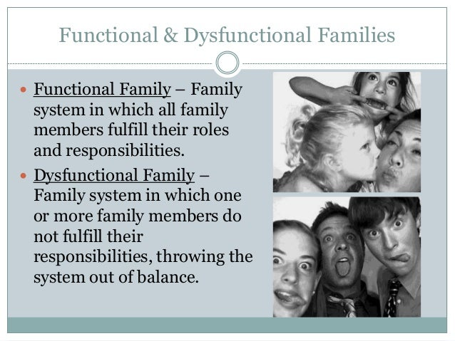 family dysfunction The other day i was responding to someone who was dreading the holidays with her 'dysfunctional family' (her words) it got me thinking about that word, dysfunctional, and how it implies that there is an opposite, functional, family somewhere.