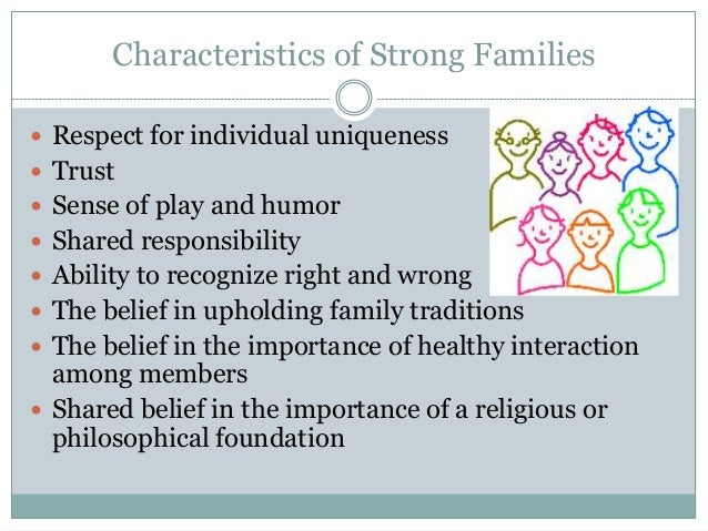 Characteristics of Strong Families Respect for individual uniqueness Trust Sense of play and humor Shared responsibili...