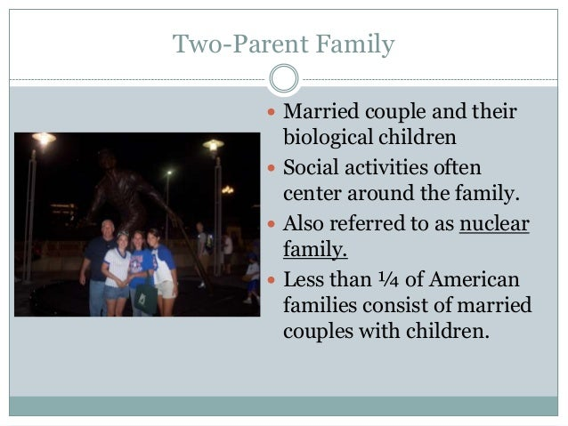 Two-Parent Family        Married couple and their         biological children        Social activities often         cen...