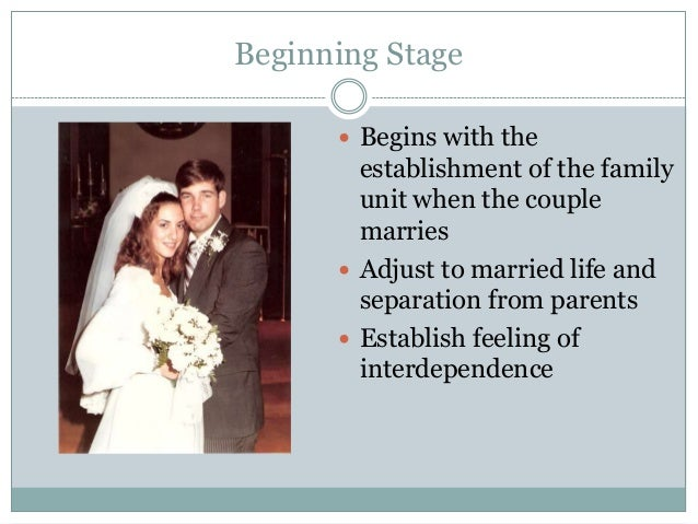 Beginning Stage       Begins with the        establishment of the family        unit when the couple        marries      ...