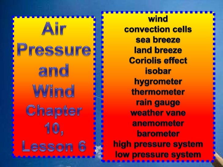 wind<br />convection cells<br />sea breeze<br />land breeze<br />Coriolis effect<br />isobar<br />hygrometer<br />thermome...