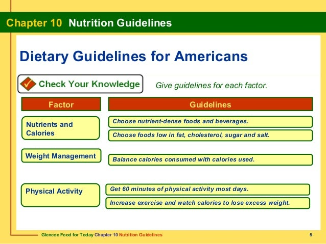 5. Glencoe Food for Today Chapter 10 Nutrition Guidelines ...