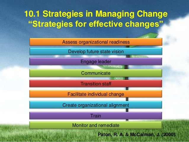 Strategies and methods needed to influence organizational change and minimize conflict