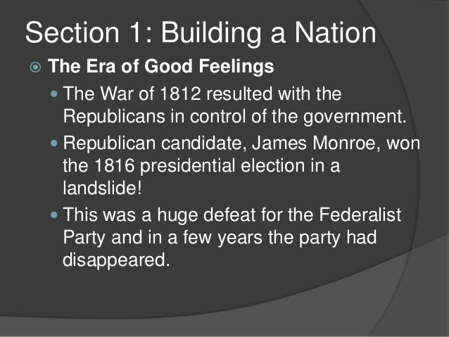 a look at the era of good feelings The era after jackson's battle of new orleans is explored and early slavery is  examined.