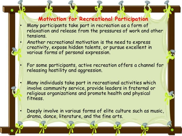 recreational activities meaning