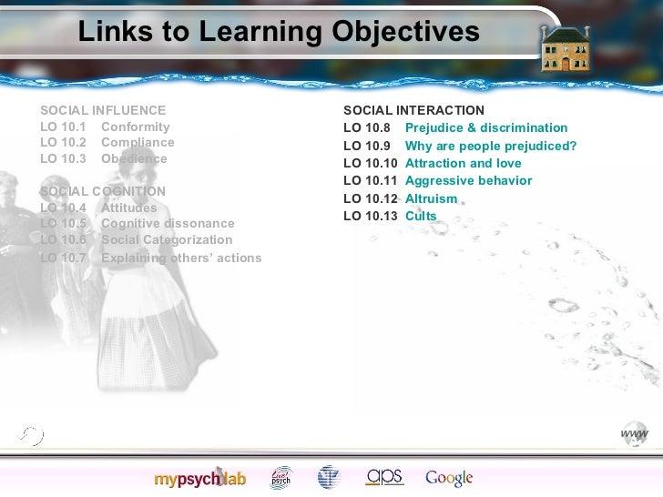 Links to Learning Objectives <ul><li>SOCIAL INFLUENCE  </li></ul><ul><li>LO 10.1  Conformity </li></ul><ul><li>LO 10.2  Co...