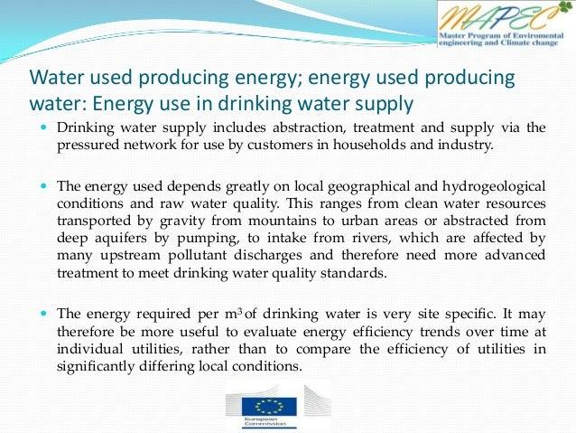 Water used producing energy; energy used producing water: Energy use in drinking water supply  Drinking water supply incl...