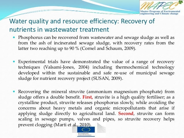 Water quality and resource efficiency: Recovery of nutrients in wastewater treatment  Phosphorus can be recovered from wa...