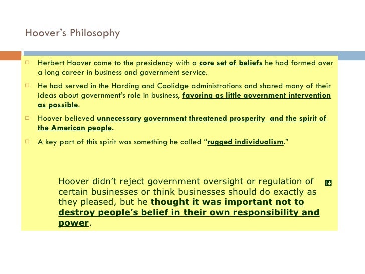 What Was Hoover S Idea Of Rugged Individualism North