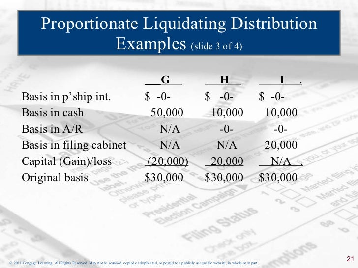 What is an example of a liquidating distribution