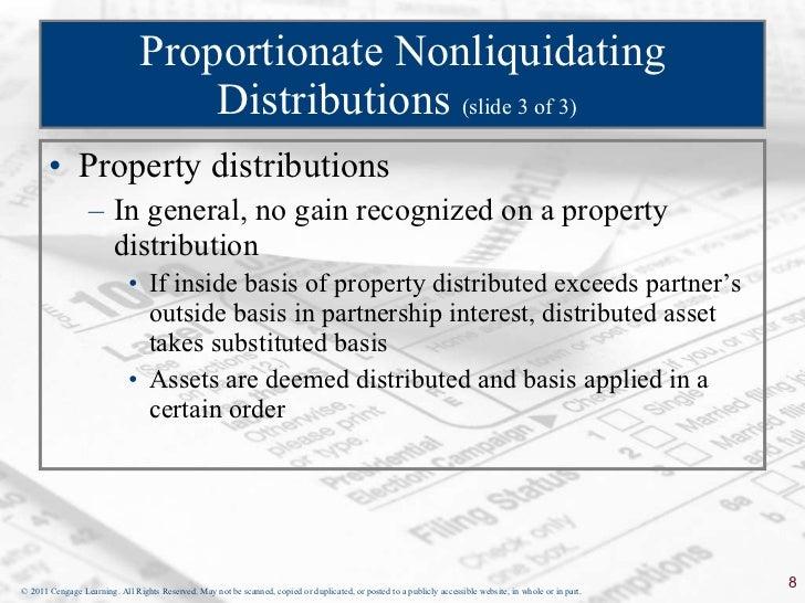 Proportionate nonliquidating distributions