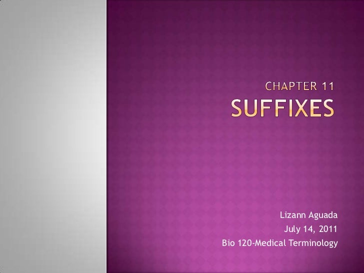 Chapter 11Suffixes<br />LizannAguada<br />July 14, 2011<br />Bio 120-Medical Terminology<br />