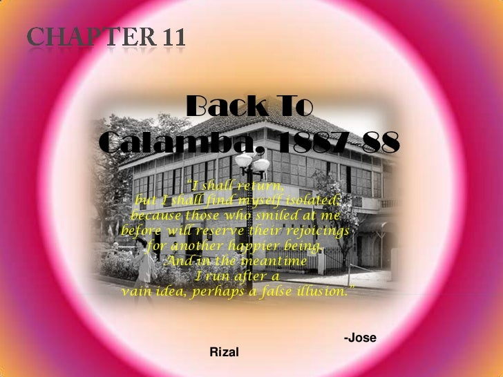 "Back ToCalamba, 1887-88           ""I shall return,   but I shall find myself isolated;  because those who smiled at me bef..."