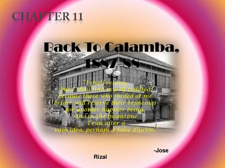"""CHAPTER 11<br />Back To Calamba, 1887-88<br />""""I shall return,<br /> but I shall find myself isolated; <br />because those..."""