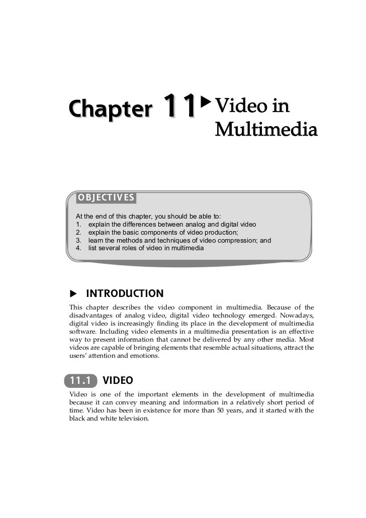Chapter                        11                 Video in                                                  Multimedia   O...
