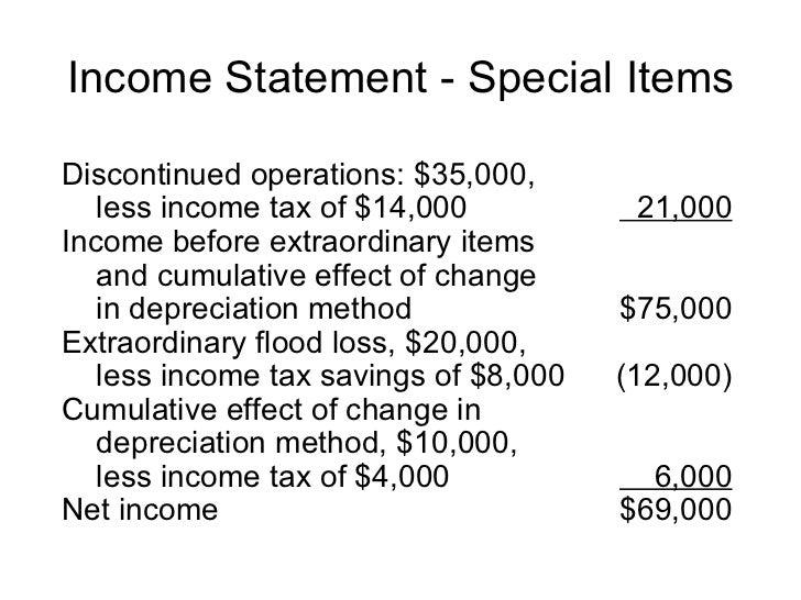 Extraordinary gain income statement