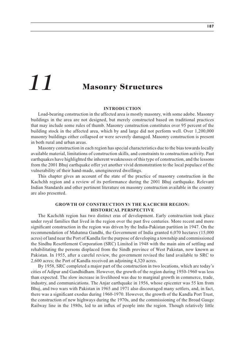 187     11                          Masonry Structures                                          INTRODUCTION     Load-bear...