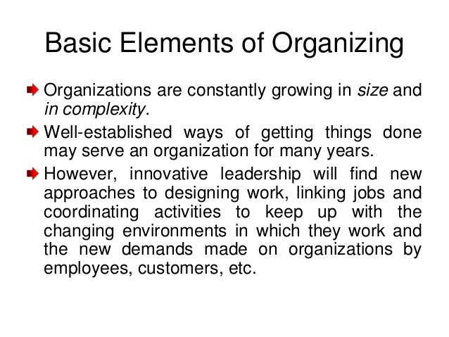 Basic Elements of OrganizingOrganizations are constantly growing in size andin complexity.Well-established ways of getting...