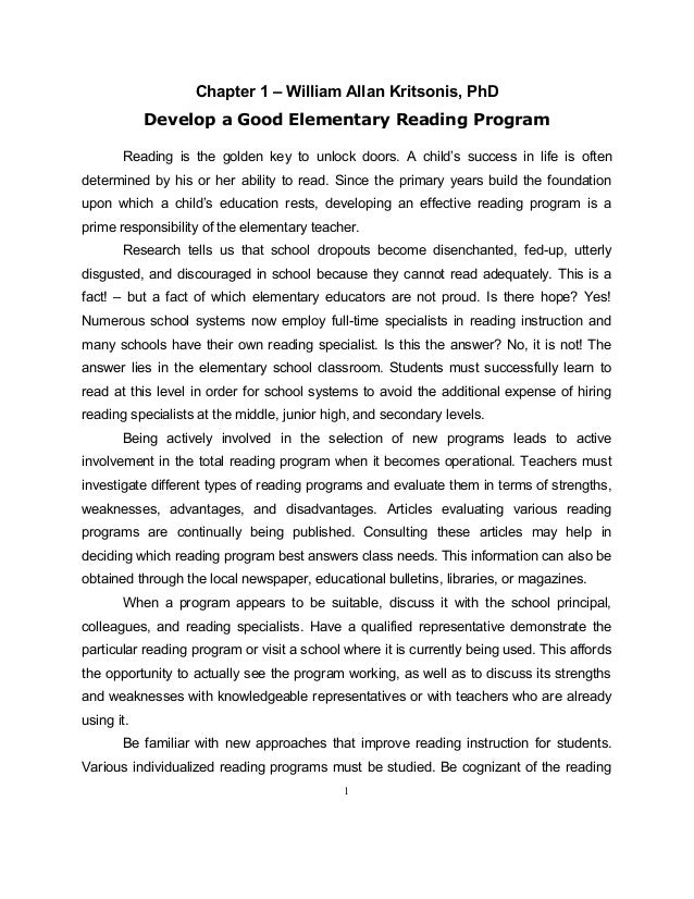 Chapter 1 – William Allan Kritsonis, PhDDevelop a Good Elementary Reading ProgramReading is the golden key to unlock doors...