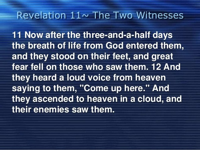 Revelation 11~ The Two Witnesses  11 Now after the three-and-a-half days  the breath of life from God entered them,  and t...