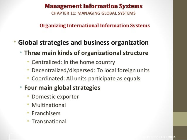 domestic exporter multinational franchiser and transnational International strategy globalization drivers – assess dual pressures: global efficiency - standardization national/local responsiveness - adaptation.