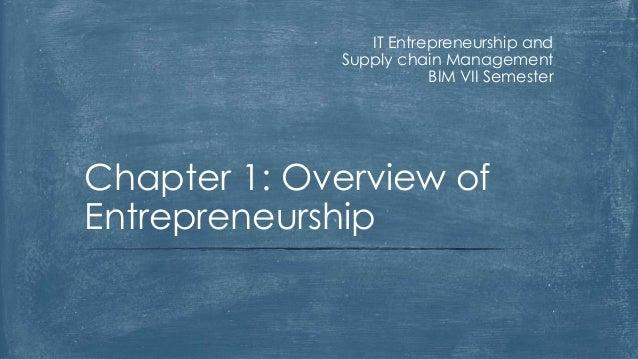 IT Entrepreneurship and Supply chain Management BIM VII Semester Chapter 1: Overview of Entrepreneurship