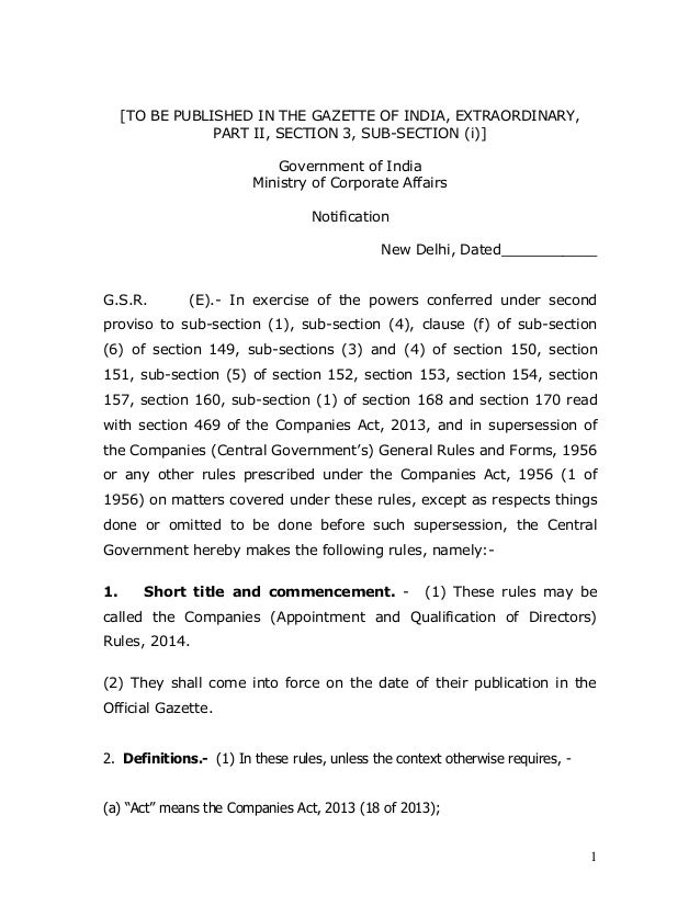 1 [TO BE PUBLISHED IN THE GAZETTE OF INDIA, EXTRAORDINARY, PART II, SECTION 3, SUB-SECTION (i)] Government of India Minist...