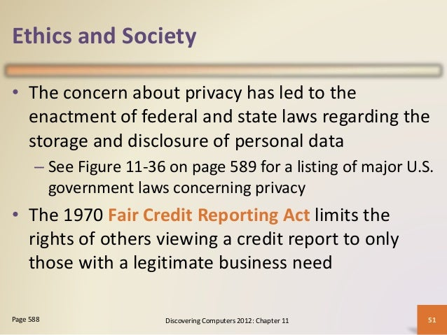 ethics in information technology fair credit act Called ethical formalism), an act is moral if it (1) has universalizability  viding  credit, personal information may be, like interest, a  the fair credit report.