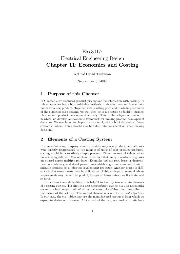 Elec3017:        Electrical Engineering Design    Chapter 11: Economics and Costing                         A/Prof David T...