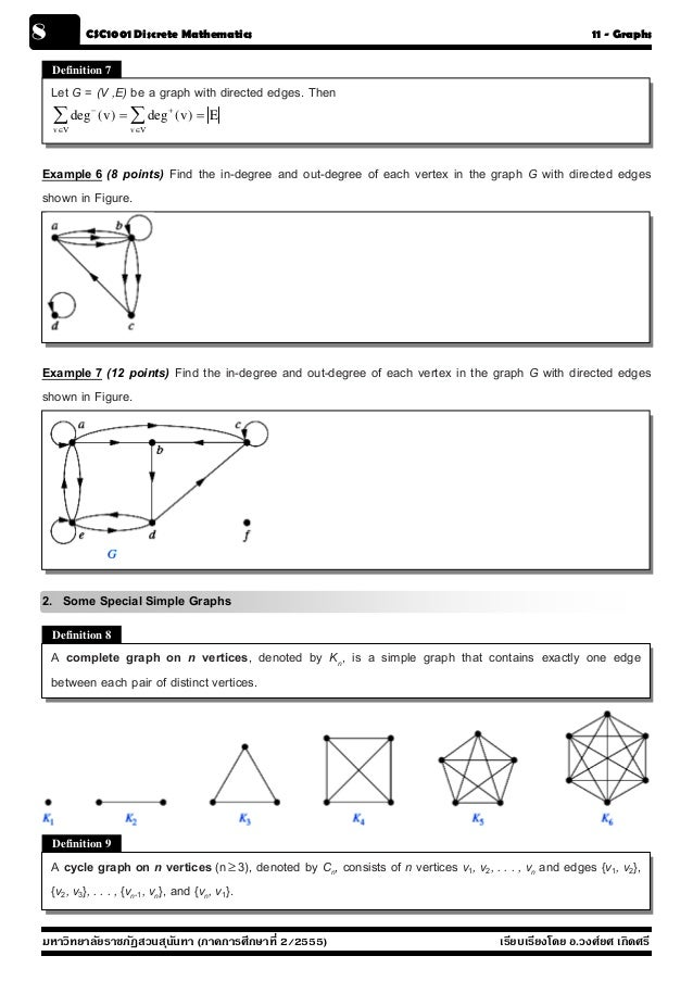 8         CSC1001 Discrete Mathematics                                                                     11 - Graphs    ...