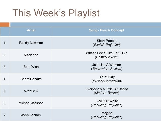 This Week's Playlist Artist  Song / Psych Concept  1.  Randy Newman  Short People (Explicit Prejudice)  2.  Madonna  What ...