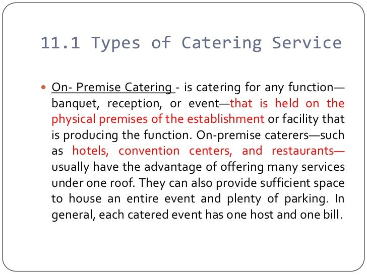 disadvantages of off-premise catering