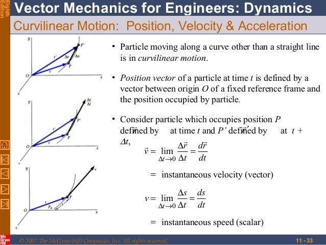 Chapter 11 kinematics of particles